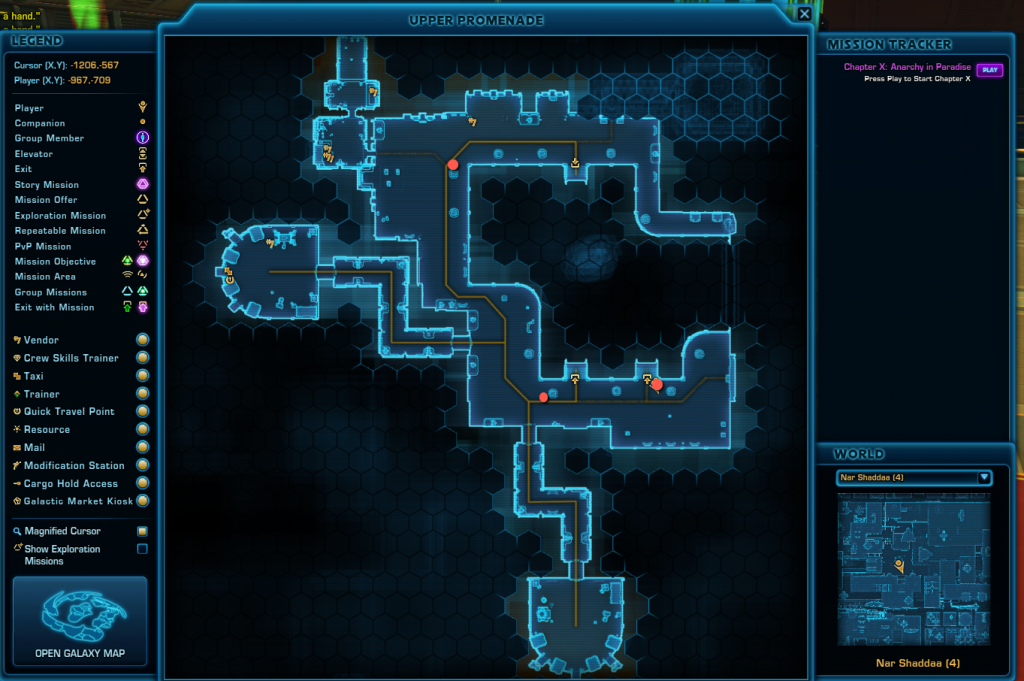 SWTOR Nar Shaddaa Wookie Hugging Achievement Guide Map - Upper Level